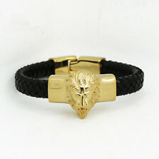 Stainless Steel Gold Lion Head Black Leather Bangle Mens Bracelet + Box #BL182