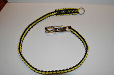 """Biker Whip motorcycle get back 34"""" 550 Paracord & Chrome Panic Snap Yellow Black"""