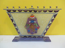 VINTAGE JUDAICA  MENORAH HANUKKAH OIL LAMP Hamsa Khamsa GLASS FISH EYE RARE