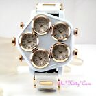 Big White Rose Gold PLT Mens 5 Zone Multi Dial World Time Hip Hop Gangster Watch