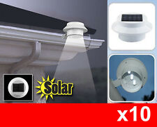 10x Solar Powered 3LED Fence Gutter Light Outdoor Garden Yard Wall Pathway Lamp