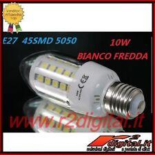 LAMPADA OLIVA 45 LED SMD E27 LUCE FREDDA 10W LAMPADINA BIANCA MOLTO LUMINOSA HID