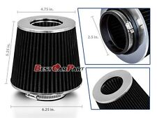 """BLACK 2.5"""" 63.5mm Inlet Cold Air Intake Cone Replacement Quality Dry Air Filter"""