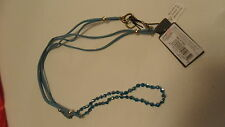 Pretty Long Cord & Bead Necklace in Blue - Toggle Closure -  Wear Long or Short