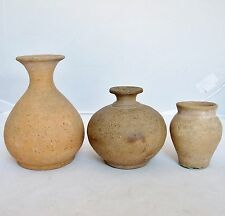 "3 Small Antique Chinese Pottery Vases - SONG Dynasty ? (5.05"", 3.6"" & 2.95"" )"