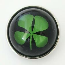 SNAP Four Leaf Clover Interchangeable Button Jewelry 18mm Fits Ginger Snaps