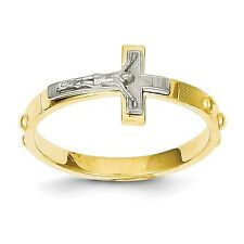 14K Two-tone Gold Crucifix Rosary Ring - size 6