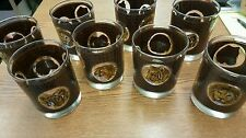 Lot Set of 8 Libbey Safari Glass Textured Leather Look Lion Tiger Leopard Ram