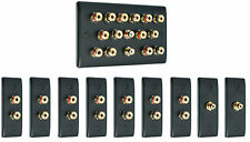 Matt Black 7.2 Surround Sound Audio AV Speaker Wall Face Plate Kit - NON SOLDER