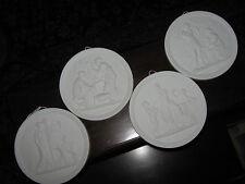 4 Seasons of Life Royal Copenhagen Eneret White Bisque Porcelain Plaque Set of 4