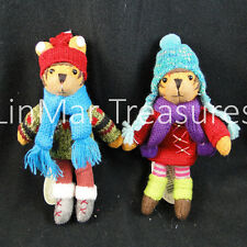 Boy Girl Tiger Ornament Set of 2 Midwest CBK Knit Wits Like Heartfelts Ornaments
