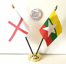 England & Myanmar New Double Friendship Table Flags & Badge Set