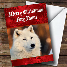 White Wolf Personalised Christmas Greetings Card