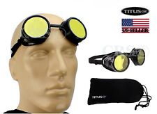 HD YELLOW BIKER MOTORCYCLE SPORT GOGGLES GLASSES PILOT AVIATION TYPE STEAMPUNK