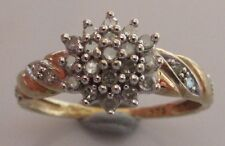 SECONDHAND 9CT YELLOW GOLD DIAMOND 0.25CT ROUND CLUSTER RING SIZE N.