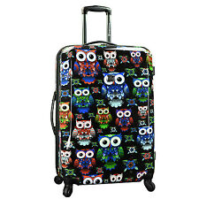 """Cute Unique Owl Print 29"""" Large Expand Spinner Hardside Suitcase Travel Luggage"""