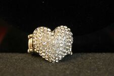 Clear Crystal Heart Stretch Ring, Fit anyone, statement, Silver Tone