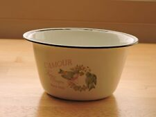 White L'Amour Slightly Distressed Enamel Country Bath Kitchen Soap Bowl
