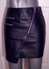 H&M Black Faux Leather PU Pencil Mini SKIRT uk8 eu34 us4 Waist w27ins w69cms