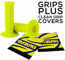 MOTOCROSS MX ENDURO GRIPS YELLOW + CLEAN GRIP SLEEVES SUZUKI RM RMZ DRZ RMX