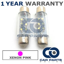 2X PINK NUMBER PLATE INTERIOR LIGHT 6 DOME LED BULBS 39MM 03PX2