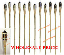 "12 Pcs 48"" NEW BAMBOO TIKI TORCHES Yard Party Garden Lamp Mosquito Metal"