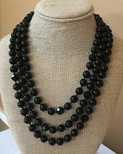 "Vintage Black Faceted & Round Glass Bead Single Strand Necklace 63"" Long"