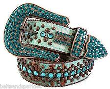 BB Simon Swarovski Crystal Leather Belt 34 L New