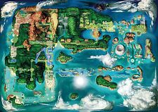 Pokemon Region Map - Beautiful HD Wall Poster - 34 in x 22 in ( Fast Shipping )