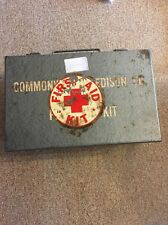 Vintage Commonwealth Edison Company First Aid Kit Metal Box Emergency