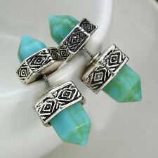 Fashion Women Earrings Silver Hexagon Bullet Turquoise Stud forever 21 earrings