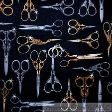 BonEful Fabric FQ Cotton Quilt Black Gold Silver Girl Sewing Embroidery Scissors