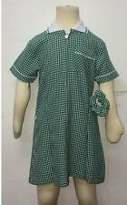 Girls School Pleated Summer Gingham Dress Age 3-20 Skyblue Navy Bottle Green Red