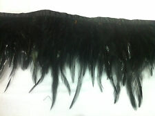 1 METRE FEATHER FRINGE TRIM, ROOSTER HACKLE, BLACK COLOUR