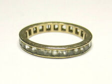 Vintage Art Deco 9 ct Gold and White Sapphire Eternity Ring Size O 1/2
