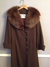 Vintage Wool coat with FOX collar brown MINT condition jacket