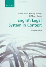 English Legal System in Context By Fiona Cownie, Anthony Bradne .9780199289882
