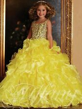 Pageant Prom Party Princess Wedding Birthday Beaded Ball gown Flower Girl Dress