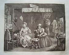 William Hogarth Werdegang der Dirne 3 Sex  Prostituierte alter Kupferstich 1800