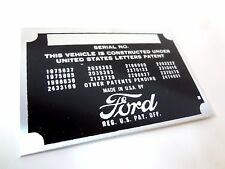 Ford Motor Co Division Body Model Trim Number Plate VIN Tag part Owners Early