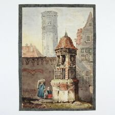 "Antique French Watercolor, Flemish Town, Figures, Signed ""Estainville"", 1880's"