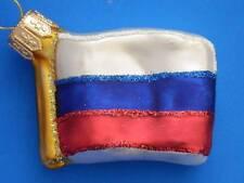 RUSSIA FLAG EUROPEAN BLOWN GLASS CHRISTMAS TREE ORNAMENT