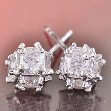 "Wedding  Clear Cubic Zirconia 14K White Gold Filled ""Megic Ball"" Stud earing"