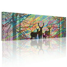 HD Canvas Prints Home Decor Wall Art Painting-Deer Windy Forest Unframed