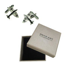 Mens Silver Spitfire War Plane Aeroplane Cufflinks & Gift Box By Onyx Art