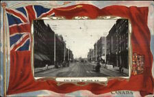 St. John NB New Brunswick King St. Canadian Flag Border c1910 Postcard rpx