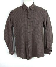 Burberrys Vintage Mens L/S Button Front Shirt - Gray Check - Small - Wool