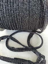 2M Black/Silver Insertion Cord Flanged Rope Piping Upholstery Sewing 8mm