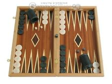 Mahogany Wood Backgammon Set with Double Inlays - Classic Wooden Board Game