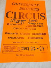 Chipperfield Brothers Circus Poster For Street In Somerset Circa 1970's